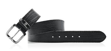 Men's Black leather belt for jeans photo