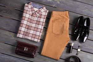 Beautifully folded men's clothing. photo