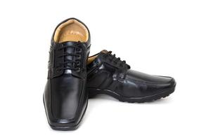 pair of black leather shoes for men