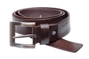Brown men leather belt isolated on white photo