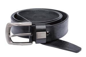 Black men leather belt isolated on white photo