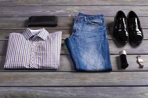 New stylish men's clothing. photo