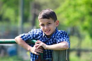 Young Boy Poses on Fence