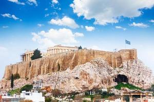 Acropolis of Athens from downtown in Greece photo