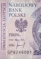 veinte zloty polaco foto