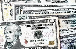 nosotros. Fondo de billetes de dólar foto