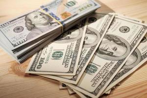 Stacks of american money photo