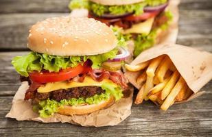 Delicious hamburger and fries