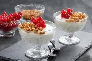 creamy panna cotta with granola and red currants