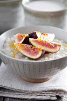 Rice pudding with vanilla and fresh figs photo