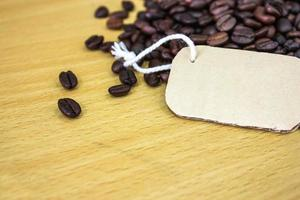 tag on the background of coffee