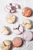 Macarons on vintage background photo