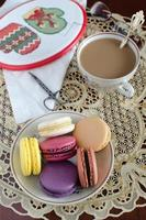 Coffee with macarons and stitch at your leisure photo