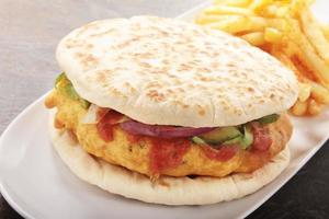 Chicken Pakora naan bread burger