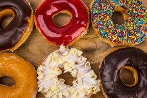 Colorful donuts on board