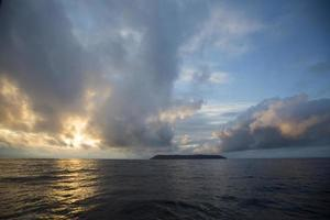 Beautiful sunset on Pacific ocean from Isabela island, Ecuador