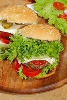 Hamburgers, fast food, burger, hamburger steak, lettuce, tomato, cheese, cucumber