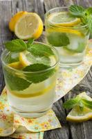 Glass of lemonade with lemon and mint.