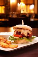 Ciabatta lamb burger with fried potatoes