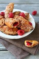 Croissants with raspberries