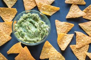 Guacamole with tortilla chips photo
