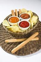 Tortilla chips with salsa photo