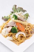 Hokkien noodle stri fried with satay sauce.Thai style food.