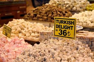 Traditional turkish delight at Grand Bazaar, Istanbul, Turkey. photo