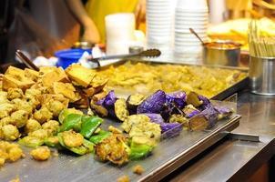 Fried vegetables at Hong Kong street food stall photo