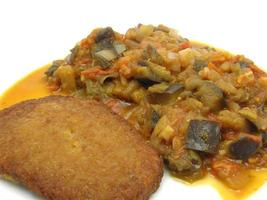 Breaded bean curd cutlet with fried vegetable