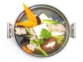 mild soup with vegetable ,pork ,mushroom and bean curd