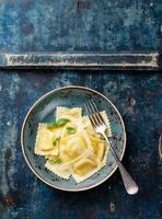 Ravioli pasta with mozzarella