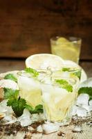 refreshing cold drink with ginger, lemon, ice and mint