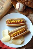 An American meal of hotdogs and chips photo