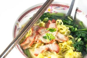 Chinese food, Wonton and noodle for traditonal gourmet dumpling image photo