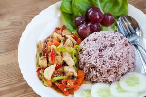 Chicken and vegetable Stir with rice