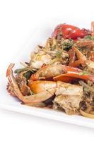 cozinha tailandesa, caranguejo frito com curry em pó
