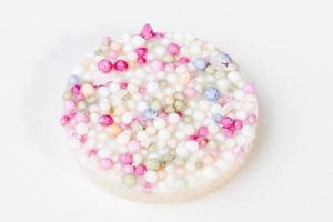 White Chocolate Button with rainbow sprinkles photo