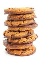 Chocolate chip cookies with half coated in chocolate. photo