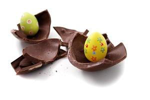Broken Easter egg in pieces photo