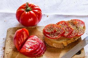 Bread with tomato and basil photo