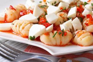 Delicious potato gnocchi with mozzarella and tomato sauce, macro