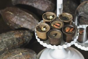 Chocolate bonbons in dish photo