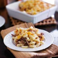 plate of baked macaroni and cheese casserole