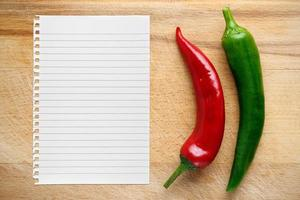 Peppers and paper for recipe