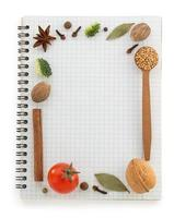 food ingredients and recipe book photo