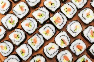 many rolls with salmon