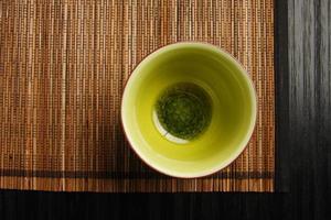 Tea cup on a mat photo