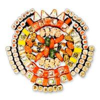 Big set of sushi, maki, gunkan and rolls isolated