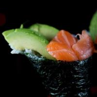 Salmon and avocado hand roll
